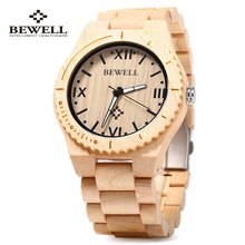 Bewell ZS — W065A Wood Men Quartz Watch Roman Numeral Scales Waterproof Wooden Man watches 2016 Brand Luxury relogio masculino
