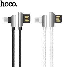 HOCO U42 1,2 m Dual Rechten Winkel Micro USB Lade Daten Sync Ladegerät Kabel für Android Handys Typ-C geflochtene Nylon Ladegerät Kabel