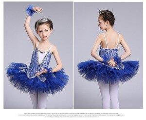 Image 5 - blue professional ballet tutu for girls kids sequin ballet tutu child dance costume for girls