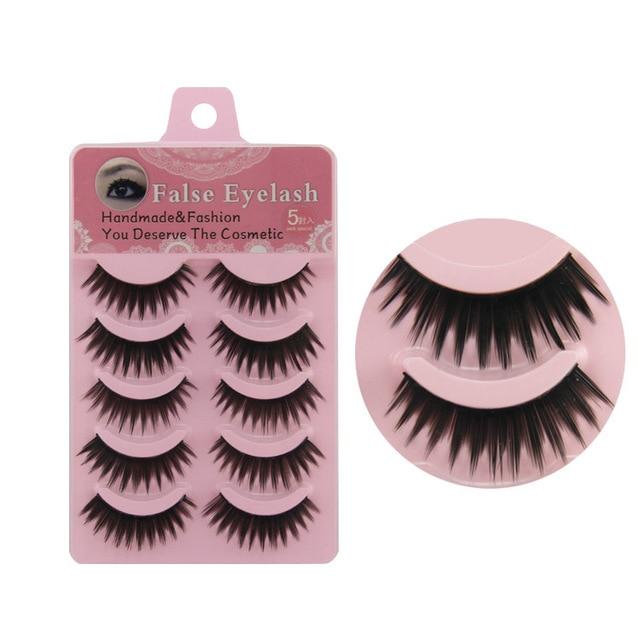 5 Pairs NEW Women Short Lady Natural Cross False Eyelashes Hand-woven high- end hand-sharpened Fake Lashes Eye Makeup Tools 5F-1