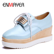 ENMAYER Pink Blue White Shoes Woman Round Toe Flat Platform Plus Size 43 Casual Flats 2017 Summer Oxford