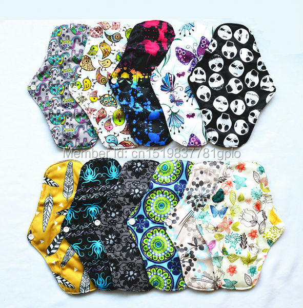 [Sigzagor] 5 LONG Panty Liners Reusable Washable CHARCOAL Bamboo Mama Cloth Pads, Menstrual Maternity Pads,10