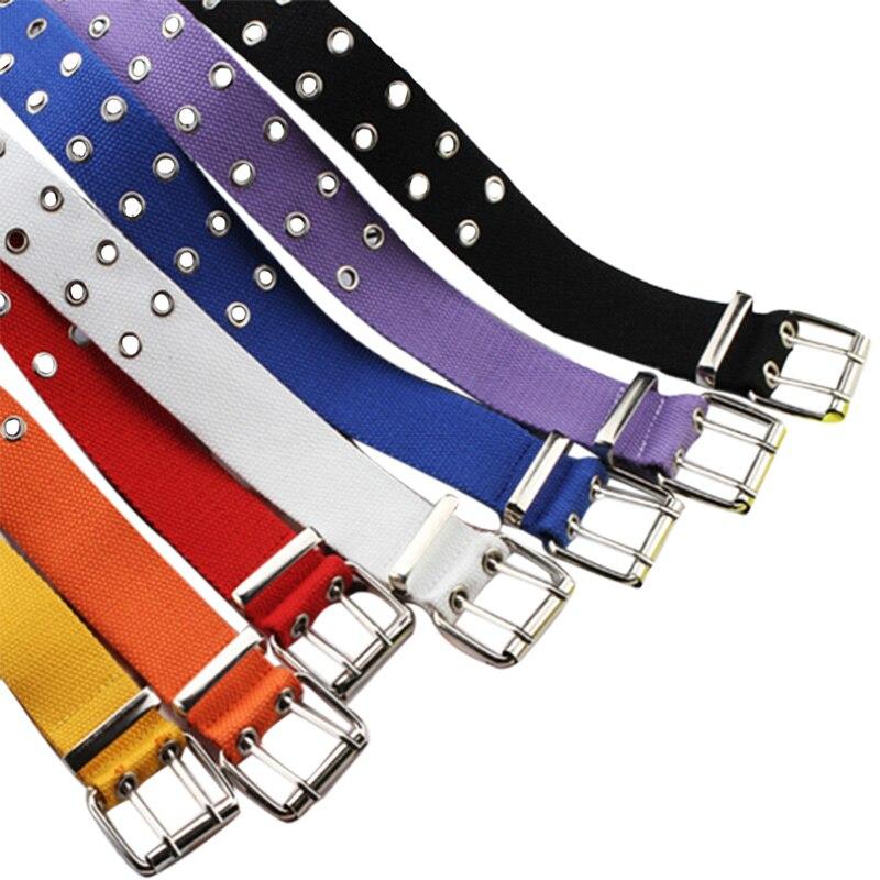 Double Grommet Hole Buckle   Belt   Wide Canvas Web   Belt   Female Male Waist Strap   Belts   for Women Men Jeans