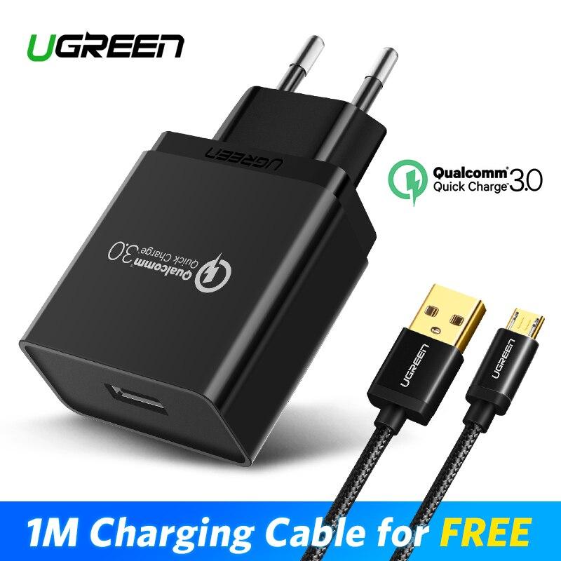 Ugreen cargador USB 18 W carga rápida 3,0 cargador de teléfono móvil para iPhone rápido QC 3,0 cargador para Huawei Samsung galaxy S9 + S8 +