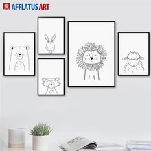 AFFLATUS Rabbit Fox Lion Bear Wall Art Print Canvas Painting Nordic Poster Black White Animal Pictures Kids Room Home Decor