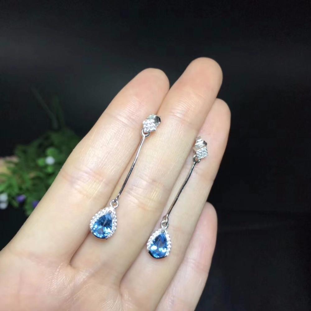 Uloveido Natural Blue Topaz Earrings for Women, 925 Sterling Silver, 5*7mm*2 Pcs Birthstone Gemstone Wedding Party Jewelry FR102