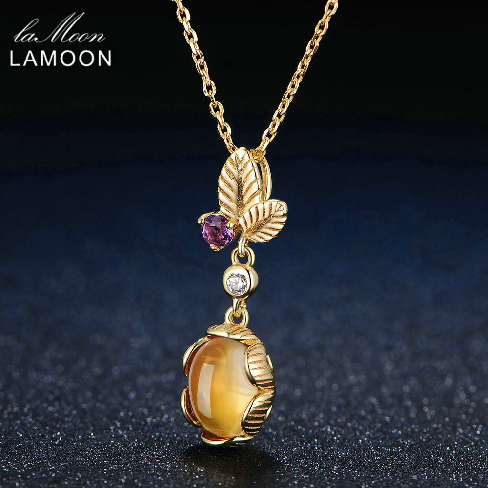 Image 2 - LAMOON 925 Sterling Silver Necklace Citrine Gemstone Pendant Necklace For Women 14K Gold Plated Leaf Shape Fine Jewelry  LMNI010-in Necklaces from Jewelry & Accessories