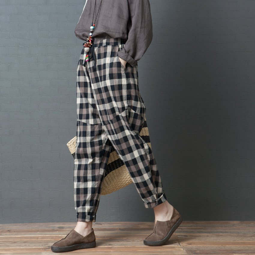 Mferlier Autumn Harem   Pants   Vintage Elastic Waist Loose Plaid Women Trouser 2 Color Oversize Women   Wide     Leg     Pants