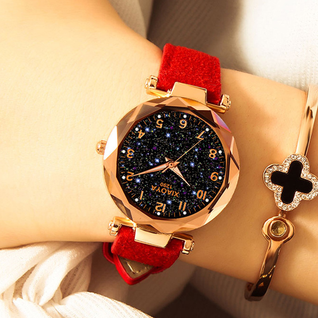 Fashion Women Watches 2019 Best Sell Star Sky Dial Clock  5