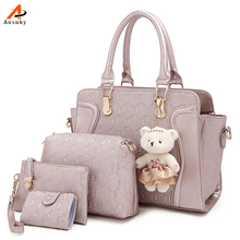 5 PCS/Set Women Bag Luxury Design Composite Bag Vintage Women Messenger Bags Shoulder Handbag Purse Wallet Leather Handbags 45