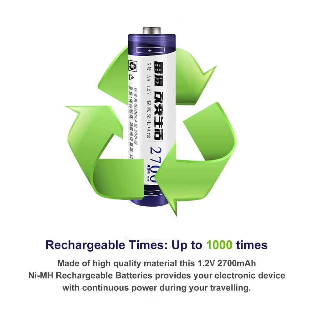LEISE 2A 2700mah NI-MH batería recargable Original 1,2 v nimh aa baterías funda de batería como regalos Envío Gratis para RC juguetes