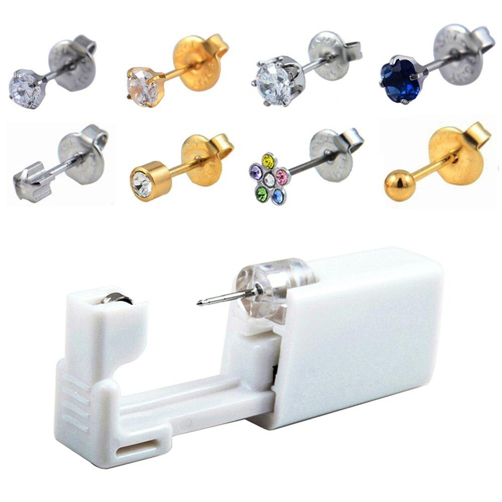 24 unids/caja Kit de Piercing de oreja sin dolor desechable más fácil seguro Piercing de nariz estéril Piercing pistola Piercing Kit de herramientas pendiente joyería
