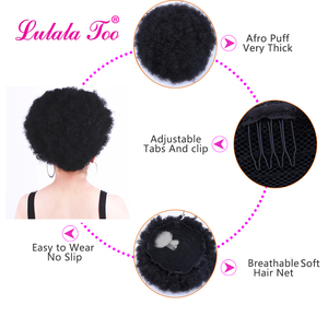 Image 3 - 10inch Afro Puff Synthetic Hair Bun Chignon Hairpiece For Women Drawstring Ponytail Kinky Curly Updo Clip Hair Extensions