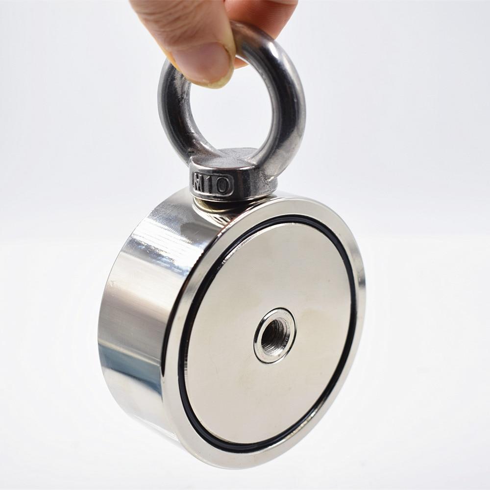 Néodyme Aimant 300 KG Forte Double côté de Récupération De Pêche crochet magnétique 74*28mm Tirant De Montage Pot avec anneau trou matériel mer - 3