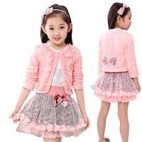 Floral Girls Winter Coat Toddler Girl Winter Clothes Outfits Sets Toddler Girl Winter Clothe Ruffle Cardigan Tutu Skirts Suits