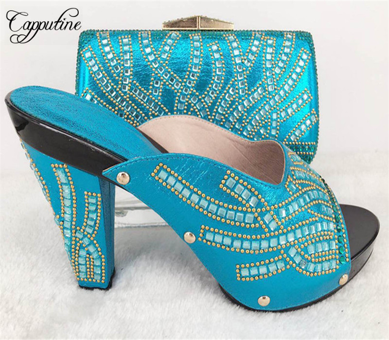 Capputine New African Woman Shoes And Bag Set Summer Style High Heels Shoes And Matching Bag Set For Party Free Shipping 9Colors capputine new summer sandals woman shoes 2017 fashion african casual sandals for ladies free shipping size 37 43 abs1115