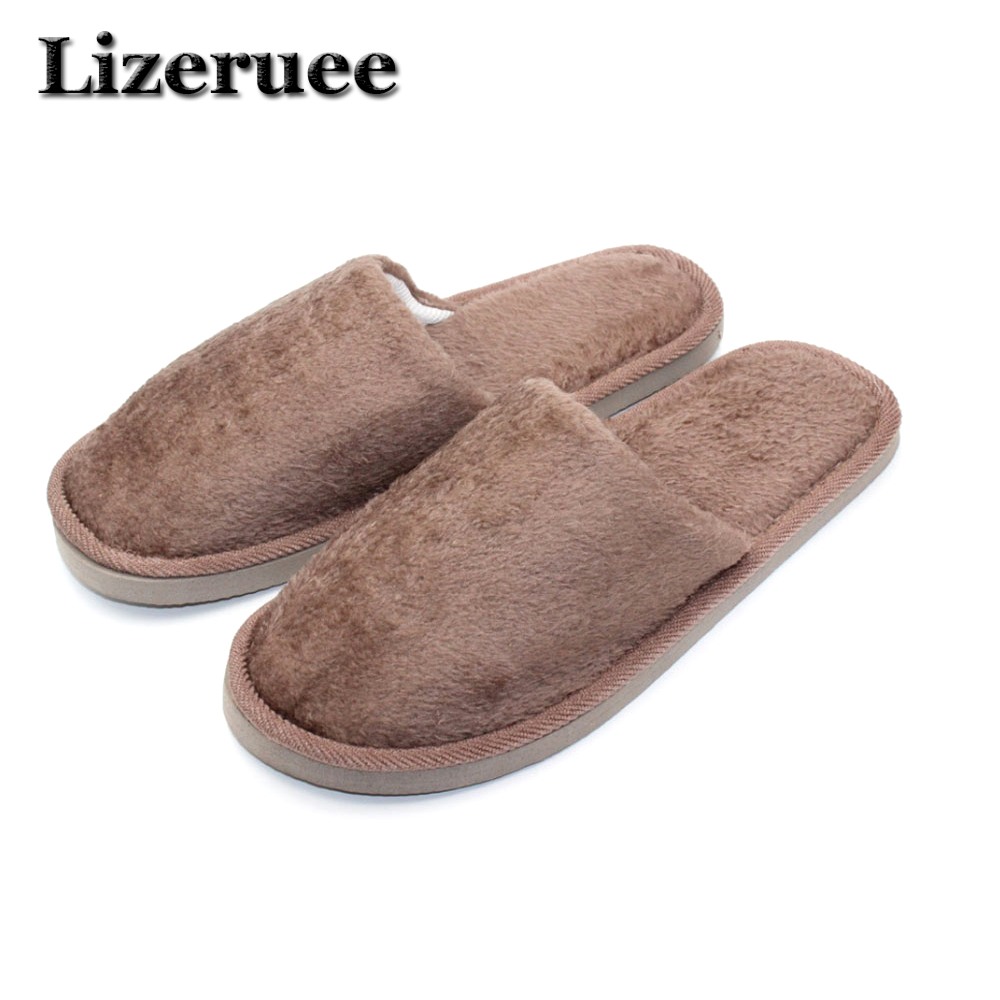 Lizeruee 3 Colors New Fashion Soft Sole Autumn Winter Warm Home Cotton Plush Slippers Men Indoor\ Floor Flat Shoes Boy Gift A304 novelty cotton winter bow tie men slippers soft keep warm solid plush home grey brown indoor shoes with fur cotton padded shoes