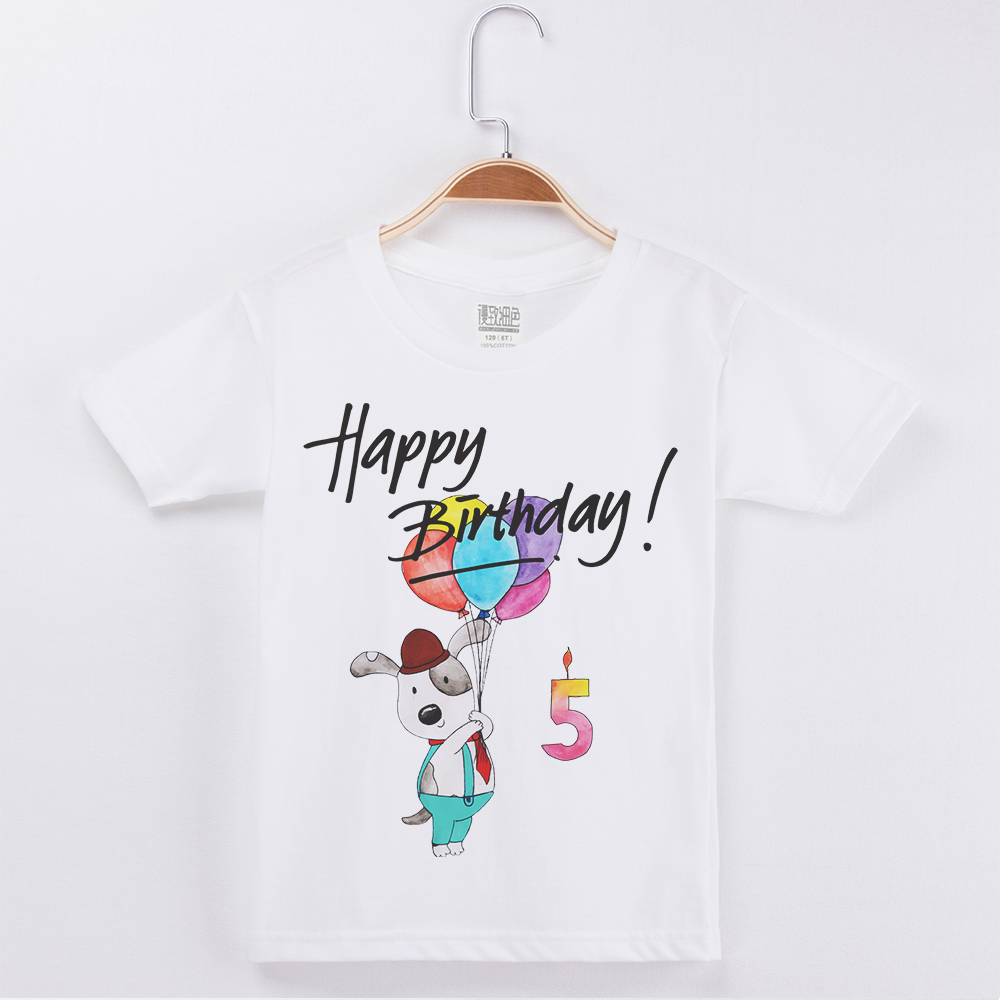 New Arrivals Fashion T-Shirt Happy Birthday Cotton Boys T Shirts Cute Bear Printing Kids Tops Clothing Child Tshirt Girl Tees