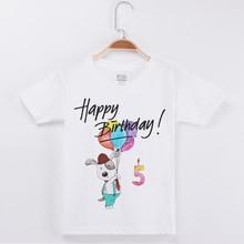 New Arrivals Fashion T-Shirt Happy Birthday Cotton Boys T Shirts Cute Bear Printing Kids Tops Clothing Child Tshirt Girl Tees