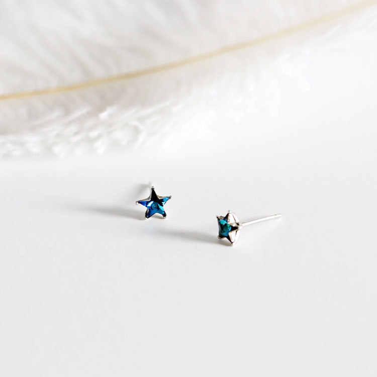 Chất Liệu Bạc 925 Pha Lê Xanh Dương Ngôi Sao Năm Cánh Bông Tai Nữ Thời Trang Sáng Tinh Tế Pentagram Mơ Mộng Trang Sức
