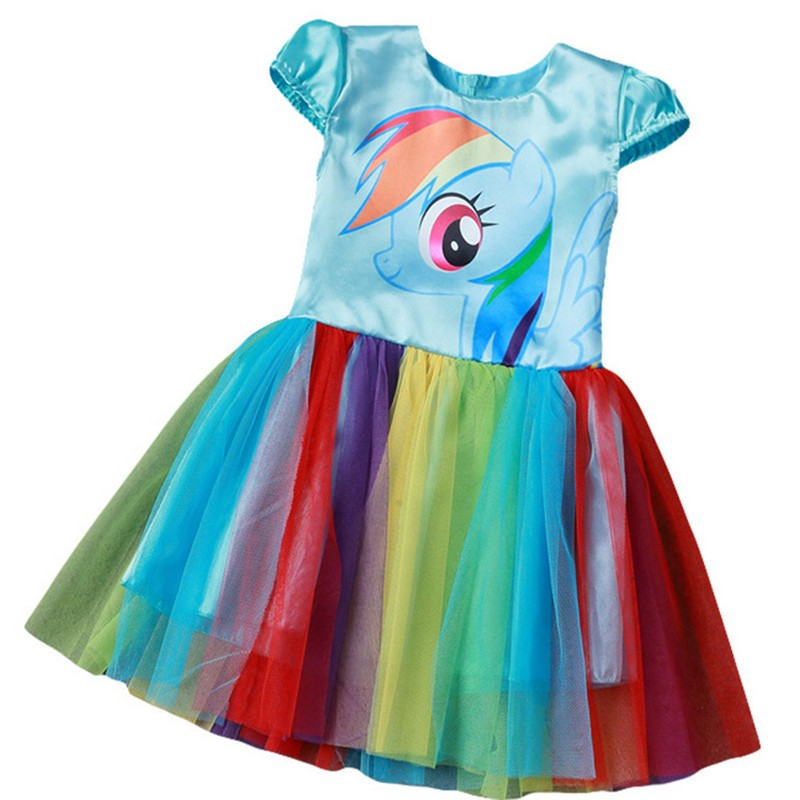 2017 New My Baby Girl Dress Children Girl little Pony Dresses Cartoon Princess Party Costume Kids Clothes Summer Clothing 2016 new free shipping retail princess dress girls baby kids children dresses for girl clothing summer dress little girl party