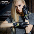 Fioretto Latest Fashion Womens Genuine Goat Nappa Leather Gloves Handmade Artwork with Color Contrast Embroidery F15561