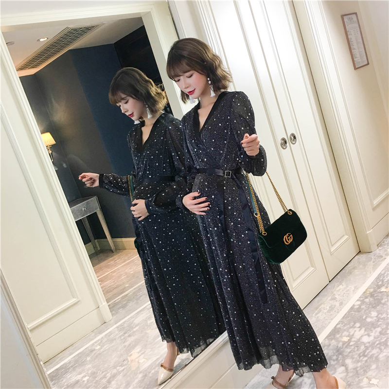 new 2018 fashion summer Lace Maternity Dresses Long Bohemian Party Evening Clothes For Pregnant Pregnancy Dress lace high low swing evening party dress