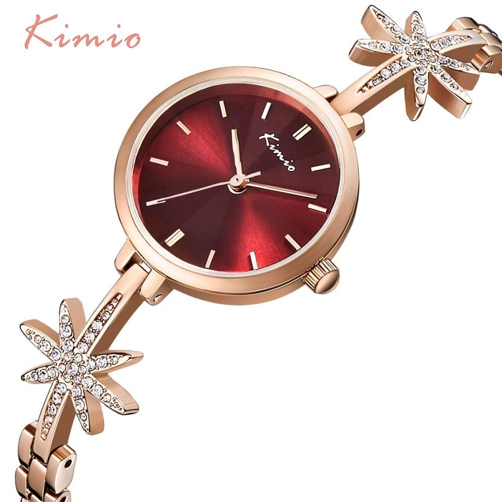 KIMIO Star Womens Watches With Rhinestones Rose Gold Bracelet Quartz Ladies Watch Women Fashion Top Brand Luxury Wrist Watch kimio rose gold watches women fashion watch 2017 luxury brand quartz wristwatch ladies bracelet women s watches for women clock