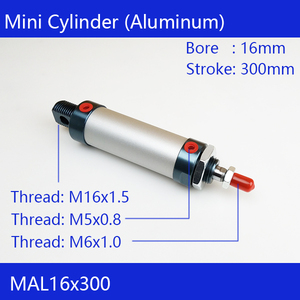 MAL16*300 Rod Single Double Action Pneumatic Cylinder Aluminum alloy mini cylinder Pneumatic Cylinder(China)
