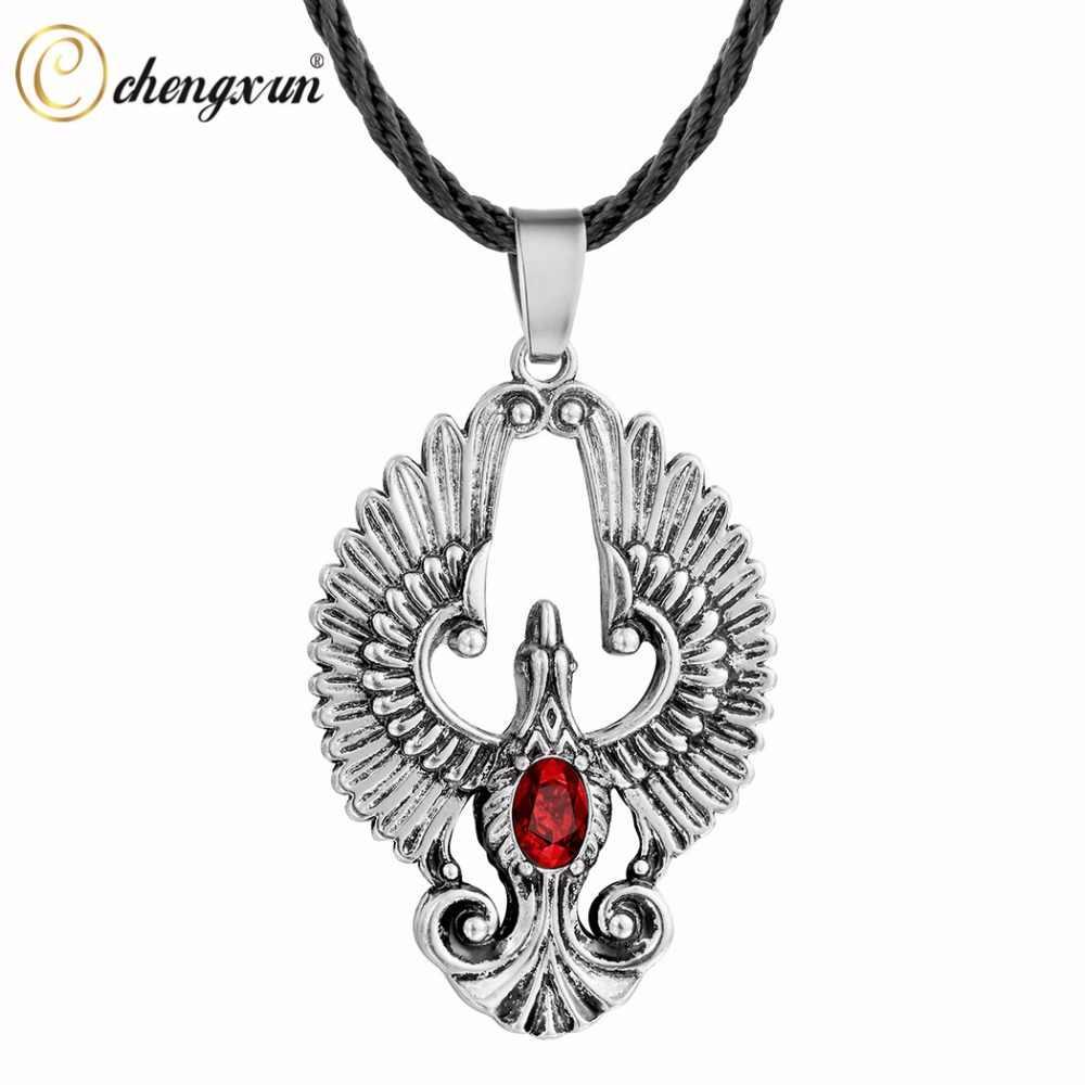 CHENGXUN Bijoux talizman Pagan Wiccan biżuteria Eagle boga Amulet Choker stary naszyjnik mężczyźni wisiorek