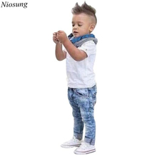 Niosung 1Set Hansome Kids Baby Boys Short Sleeve T-Shirt Tops+Scarf+Trousers Clothes Outfits 3pcs Children Clothing Suit