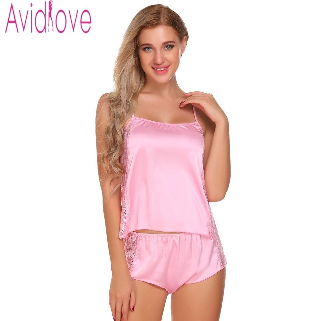 Avidlove Slik Pajamas Set For Women Satin Nightwear Suit Short ...
