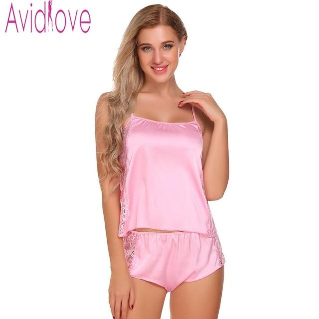 Avidlove Slik Pajamas Set For Women Satin Nightwear Suit Short Pajamas Tank  And Camisole Cami Set New Home Clothing Loungewear 1e58774df155
