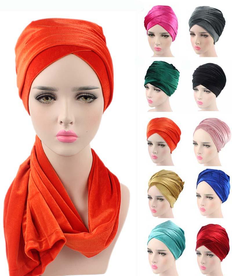 Nuevas mujeres de lujo terciopelo plisado hijab del turbante Head WRAP extra largo tubo indio headwrap bufanda lazo