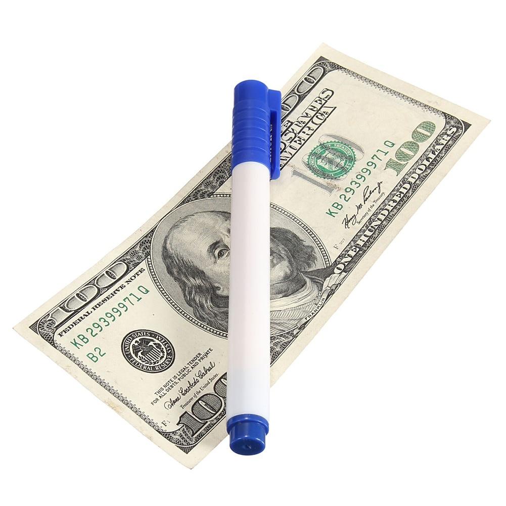 Тестер банкнот ручка поддельная кованая валюта деньги банкнота ручка проверки детектор тестер маркер магический детектор денег ручка 3 цвета - Цвет: White