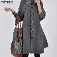 YGYEEG Women Winter Batwing Jackets Single breasted Woolen Coats Casual Loose Overcoat Long Sleeve Cloak Coat Wool Jacket S 5XL