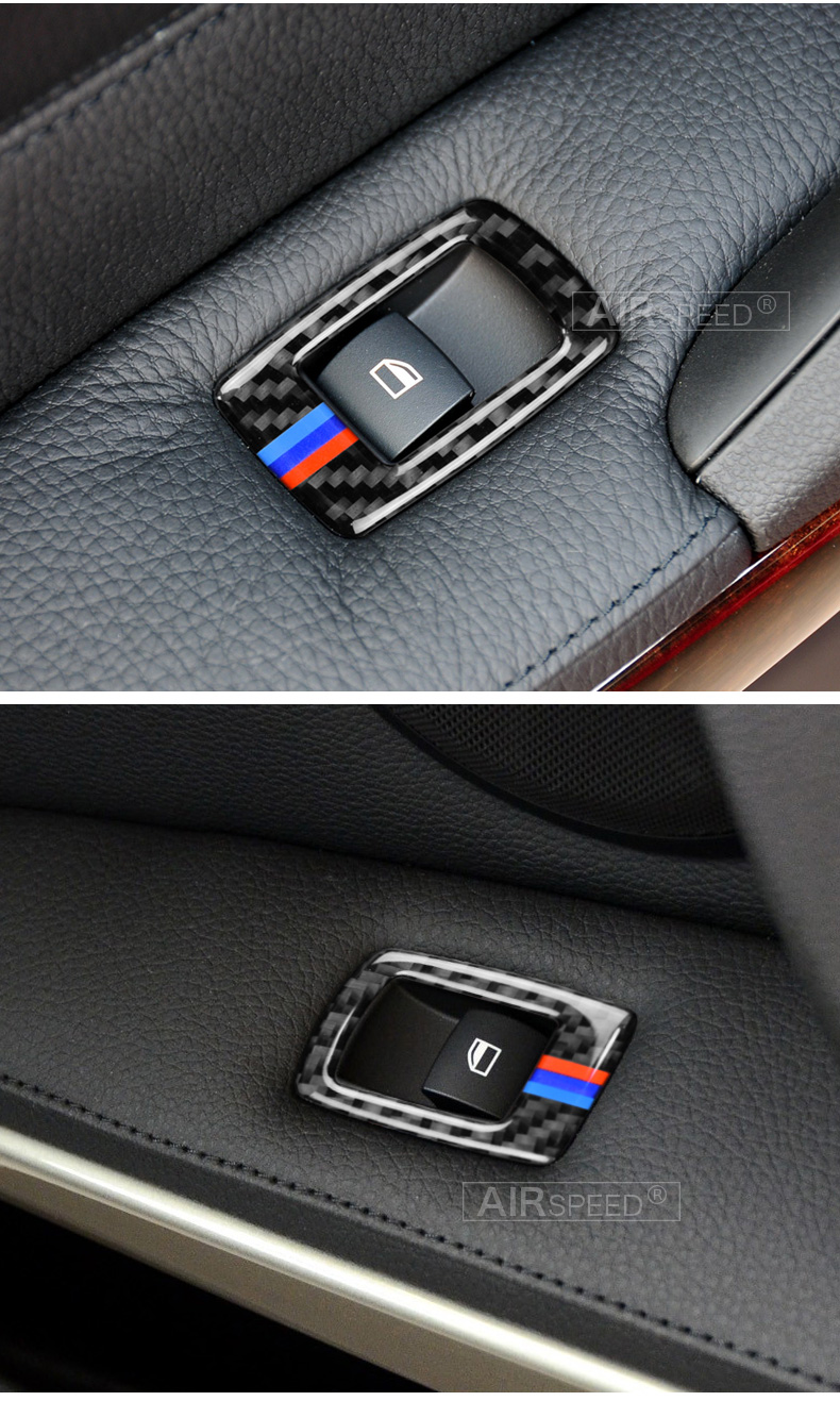 BMW 3 Series E90 E93 Accessories LHD Car Interior Carbon Fiber Door Window Switch Panel Cover Trim Car Styling (8)