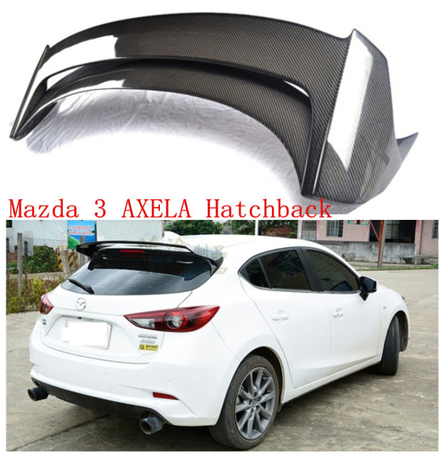 US $216 8 25% OFF|Auto Spoilers For Mazda 3 AXELA Hatchback 2014 2018 Rear  Wing Carbon fiber ABS Resin Spoiler High quality Car Accessories-in