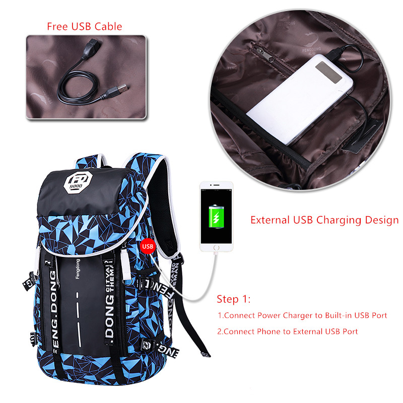 ... FengDong men travel bags male usb backpack boys chest bag boy 15.6 inch  laptop bag big ... 0a8a4b3612