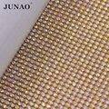 Стразы JUNAO 45*120 см  прозрачные стразы из золотого/серебряного металла  отделка из алюминиевой сетки  стеклянная кристальная аппликация для о...