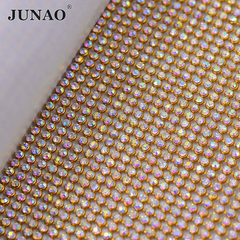 JUNAO 45 * 120cm Kristal AB Rhinestones Tkanina Zlata Srebrna Kovinska obloga Aluminijasta mrežica Steklo Kristalna Aplikacija za oblačila Torba obrt