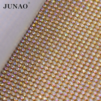 JUNAO 45*120cm Crystal AB Rhinestones Fabric Gold Silver Metal Trim Aluminum Mesh Glass Crystal Applique for Clothes Bag Crafts