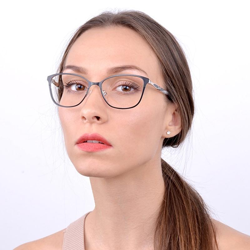 Kirka Eyeglasses Frame Metal Optical Retro Black Women