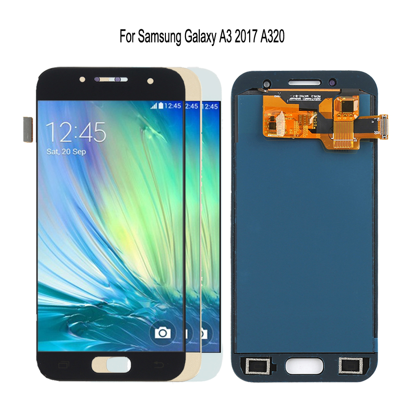 Original AMOLED pour SAMSUNG Galaxy A3 2017 LCD écran tactile A320 A320F SM-A320F LCD numériseur pièces de rechange affichage