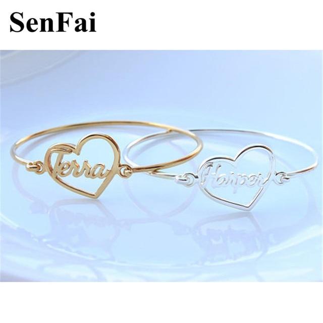 Senfai Customize Bracelets For Women Men Gold Silver Heart Letter Name Unice Unicorn Cufff Wicca Kids