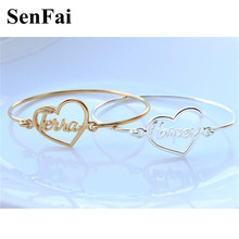 Senfai Customize Bracelets for women men Gold Silver Heart Letter Name Unice Unicorn Cufff Wicca Kids Bracelet Bangle Jewelry