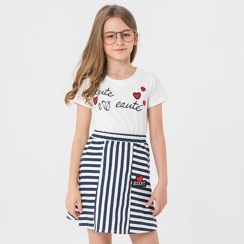 New Summer 2pcs Girls Clothing Sets Short Sleeve T Shirt+Solid Mini Skirts