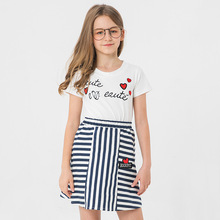 Girls Set Skirts 2019 Summer Korean Style Striped Skirt Cute Girl Two-piece Clothing Sets Printing Patch Round Neck For Teenager