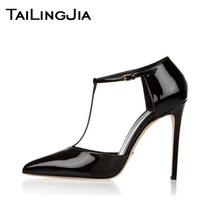 Black Pointed Toe High Quality Patent Leather Heel Brand Women Pumps Woman Shoes Wedding Party Evening Dress Free Shi