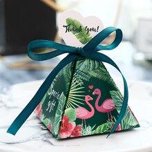 Caixa de doces flamingo para casamento, caixa de presente para aniversário de noiva, lembrança de mesa, aniversário e casamento, 100 peças